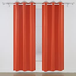 Deconovo Room Darkening Thermal Insulated Blackout Grommet Window Curtain Panel for Bedroom, Orange,42x84-inch,1 Panel