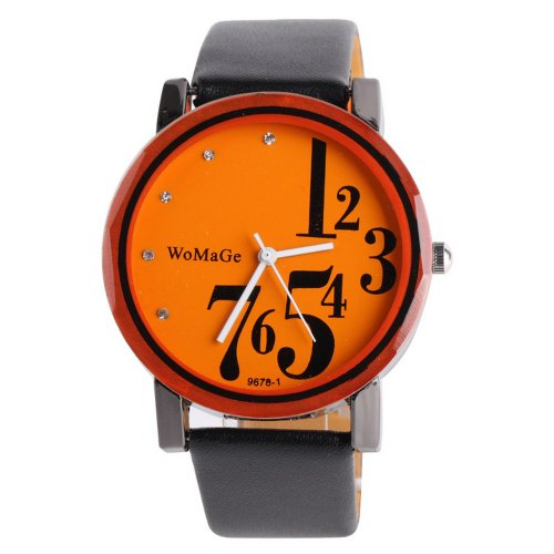 Womage Fashion Jelly Girls Ladies Leather Band Quartz Unisex Wrist Watch Gift Orange