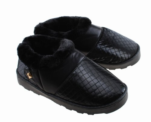Colorfulworldstore Unisex Side seam Plush Home cotton Slippers boot style warm winter Plush+PU indoor slippers