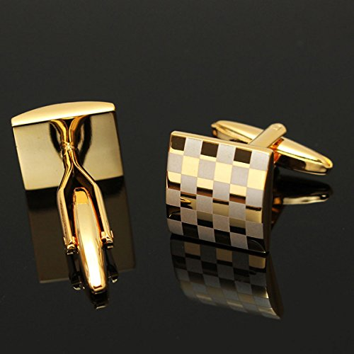 Kisstaker Classic Square Golden Cufflinks Men Wedding Party Gift Silver Sleeve Nail