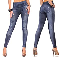 isweven Girls Slim Fit Jeggings(j19 Blue Free Size)