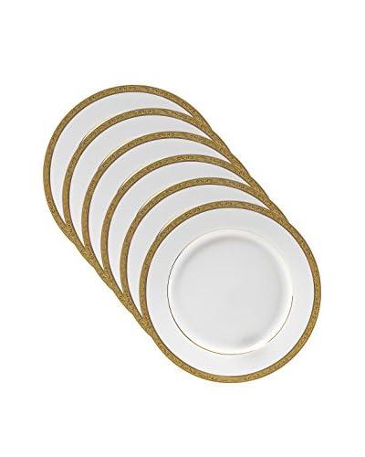 10 Strawberry Street Set of 6 Paradise Gold Dessert Plates