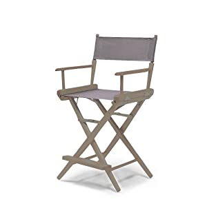 Telescope Casual World Famous Counter Height Director Chair, Rustic Grey with Grey Canvas Fabric from Telescope Casual Furniture