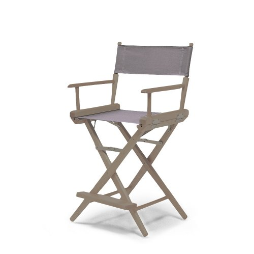 Telescope Casual World Famous Counter Height Director Chair, Rustic Grey With Grey Canvas Fabric
