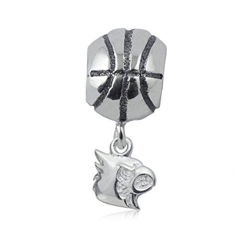 NCAA Louisville Cardinals .925 Sterling Silver Basketball Charm Bead, Louisville Jewelry