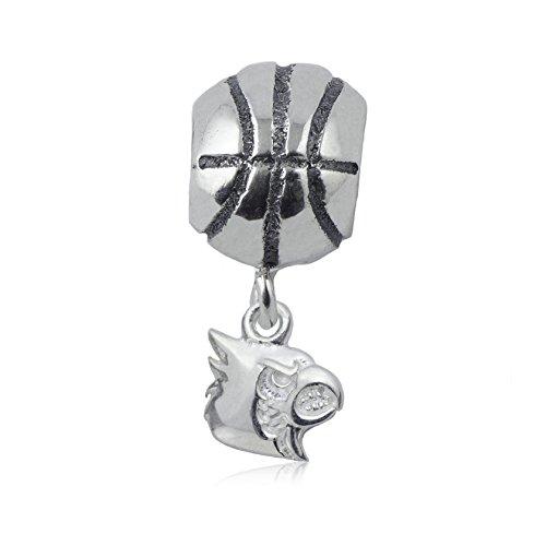 NCAA Louisville Cardinals .925 Sterling Silver Basketball Charm Bead, Louisville Jewelry