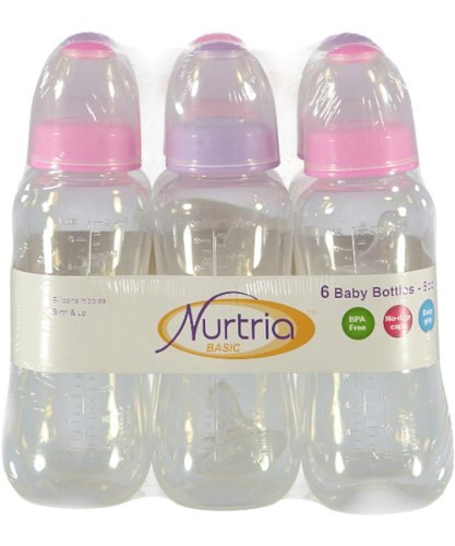 Nurtria 6-Pack Easy-Grip Baby Bottles - pink/lilac, one size - 1