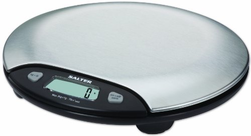Salter Stainless Steel With Black Accents Electronic Scale, Weighs To 7-Pound