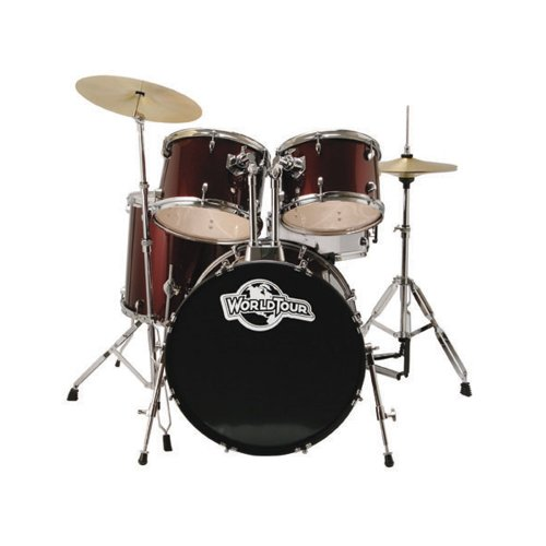 World Tour Complete 5piece Drumset with Double Braced Stands, Drum Throne, Drum Sticks, and Drum Key - Wine Red Metallic