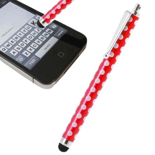 iTALKonline Rot Weiß Polka Dots Exekutive-Premium-Fortgedchritten Spitze berühren Stylus-Stift mit Gummi-Tipp für Samsung Galaxy Tab 2 7.0 P3110