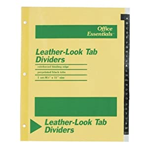 Avery Dennison Leather-Look Tab Dividers, A-Z, 3Hp, 8-1/2X11, Buff by AVE
