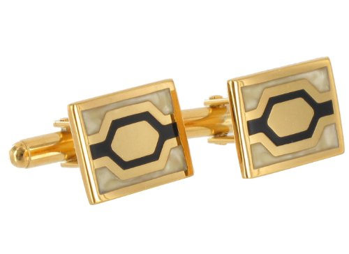 Gold Plated Metal Mens Cufflinks Rectangle Black Off White Enamel Hexagon
