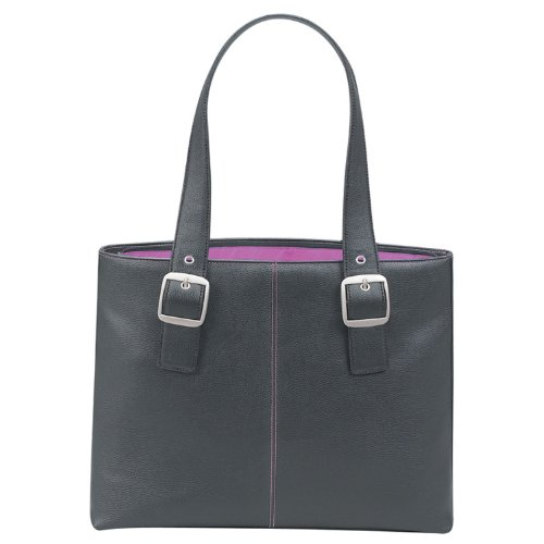 SOLO Classic Collection Laptop Tote with Padded Laptop Pocket, for Notebook Computers up to 16 Inches, Black with Magenta Interior (K708-4/12)