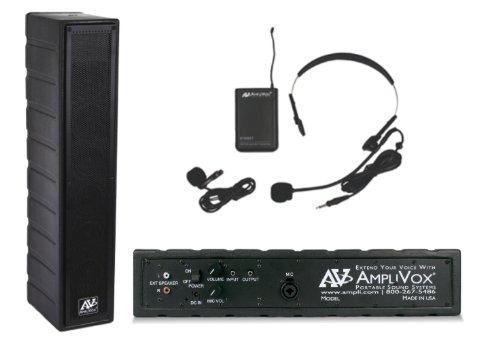 Amplivox Classroom Speaker System - 50 Watt Amplified Speaker With 16 Channel Uhf Wireless Lapel & Headset Microphone