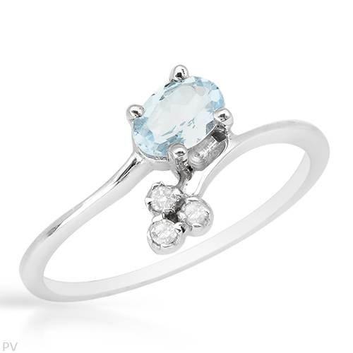 Gentlemens Ring With 0.70ctw Precious Stones - Genuine Diamonds and Topaz Made of 925 Sterling silver (Size 7)
