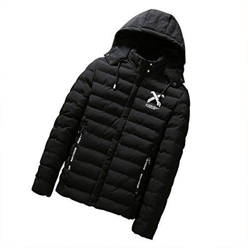 Real Spark(TM) Men Winter Cotton Padded Warm Removable Hood Puffer Jacket Coat Black L (Rokinon Hood compare prices)
