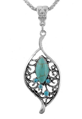 MJARTORIA Boho Halskette mit Hohl Blatt Türkis Anhänger Silberkette Blau Strass 47.5cm