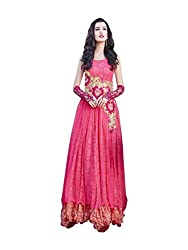 Whatshop Peach Designer Floor Length Gown