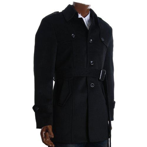 FLATSEVEN Mens Designer Single Breasted Winter Pea Coat (CT211) Black, L