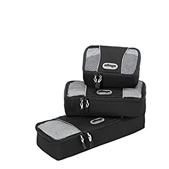 eBags Slim Packing Cubes - Assorted 3PC Set (Black)