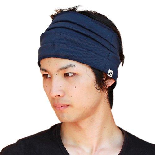 日本製 程よいフィット感がくせになるプリーツヘアバンドのNEWタイプ コットンリブプリーツターバン 紺