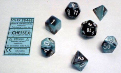 Polyhedral 7-Die Gemini Chessex Dice Set - Black & Shell with White CHX-26446