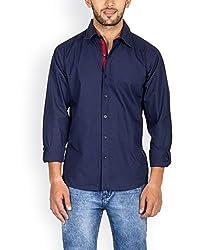 Tuscans Men Navy Slim Fit Casual Shirt_QSS4_NAVY_XL