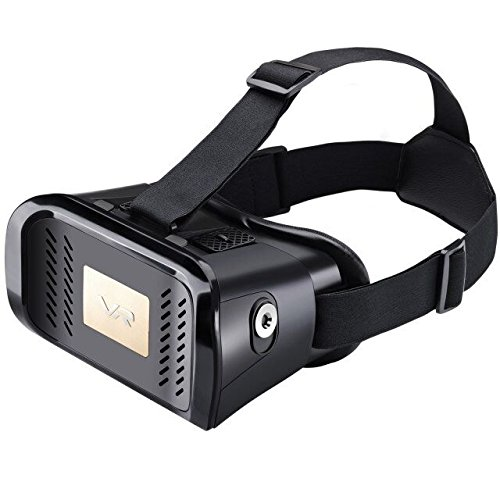 Elecstars 2016 Newest Version Google Cardboard 3D VR Virtual Reality Glasses Headset W Adjustable Head Band Strap for 3.5 to 6.0 Inches Smartphones [IMAX 3D Movies / Immersive VR Gaming] -Black