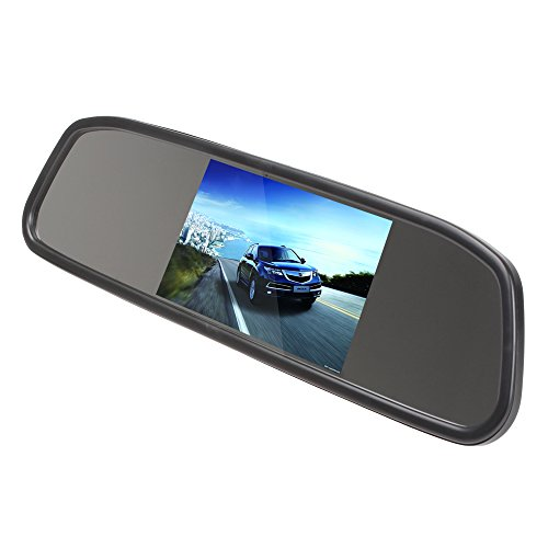ePathChina® 4.3 Inch Color Digital TFT LCD Screen Car Rear View Mirror Monitor with 960 x 480 Screen Resolution, Car /Automobile Rear View Mirror Display Monitor Support Two Ways Of Video Output, V1/V2 Selecting and Anti-glaring Glasses for Eye Sight Prot