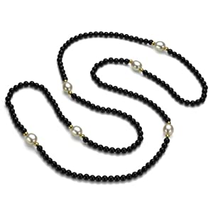 14k Yellow Gold 8-9mm Freshwater Pearl, 3-4mm Black Onyx with 12pcs 3mm Yellow Gold Beads; Endless Necklace 30