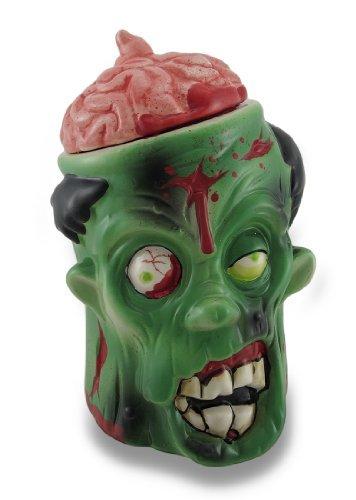 Gruesome Ceramic Green Urban Zombie Goodie Jar w/Bloody Brain Lid