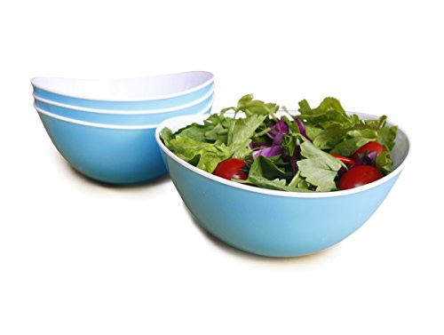 Honla Oval Wavy Plastic Serving Bowls,Party Snack or Mixing Salad Bowls-Set of 4,41.6 Ounce-Perfect Size for Pasta,Cereal,Desserts,Rice,Soup or Side Dishes,Light Blue and White (Plastic Shell Shaped Serving Dish compare prices)