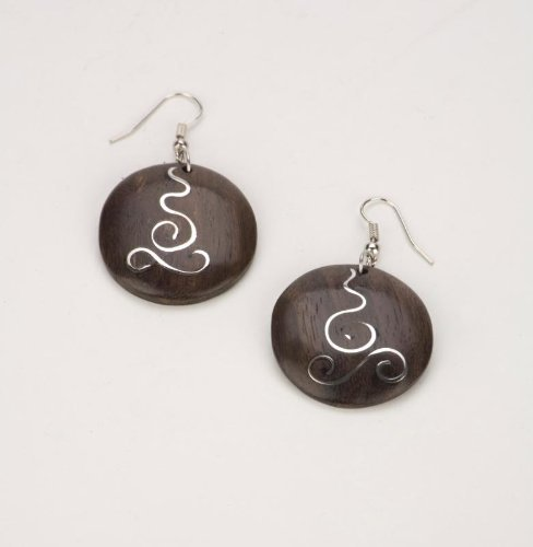 Brown silver 30mm earrings spiral coco wood wooden pair