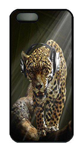Leopard Wearing Headphones Animal Pc Case Cover For Iphone 5 And Iphone 5S ¨Cblack