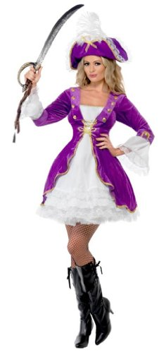 Smiffy's Women's Pirate Beauty Costume with Dress and Hat