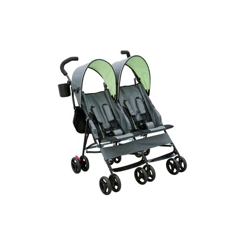 Delta Children LX Side by Side Tandem Umbrella Stroller, Lime Green