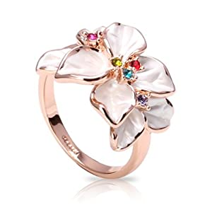 FASHION PLAZA White Enamel & Multi-color Austrian Crystals Flower Ring (Available in Sizes 5 6 7 8 9) R79 (9)