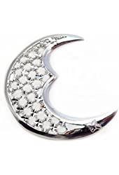Large Sterling Silver Moon Pendant with Mirror Cut-out (over 1 5/8 Inch tall)