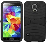 4 Items Combo For Samsung Galaxy S5 Black Hybrid Heavy Duty Armor Rugged Shell Protective UCASE Phone Case Cover with Built in Kickstand and Screen Protector + Car Charger + Free Stylus Pen + Free 3.5mm Stereo Earphone Headsets