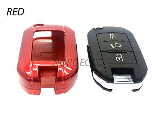 100-Hohe-Qualitt-ABS-Kunststoff-Hartschale-Schutzhlle-mit-Gloss-Finish-Schlsselanhnger-Schutzfolie-Schutzhlle-fr-neue-Peugeot-2013-2014-2015-2016-208-508-2008-Modelle-rot