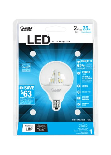Feit Electric Bpg161/2/Cl/Led/Rp Accent Led G161/2 Globe Bulb, Clear