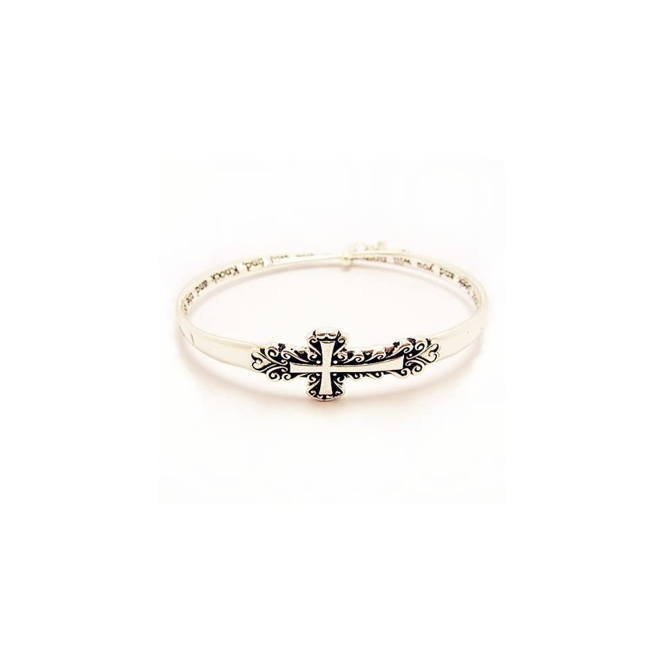 "Inspirational Cross Shaped Bangle Bracelet; Silver Tone Metal with Cross Charm; 2.75"" Diameter; Engraved words ""Ask it will be given to you; Seek and you will find, knock and the door will be opened to you."" Jewelry"