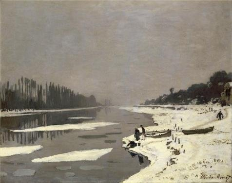 Oil Painting 'Ice Floes On The Seine At Bougival, 1868 By Claude Monet' 24 x 30 inch / 61 x 77 cm , on High Definition HD canvas prints is for Gifts And Foyer, Gym And Study Room Decoration (Red Hood Poster Dc compare prices)