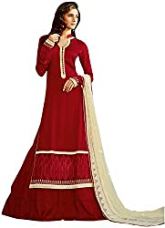 Shenoa Women's Tassar Silk Unstitched Dress Material(1117, Maroon)