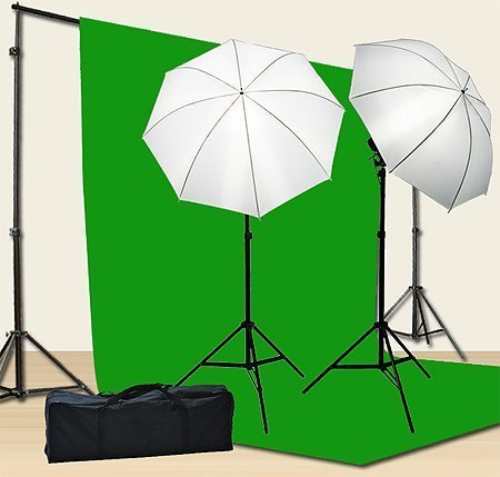 Chromakey-Green-Screen-Kit-800w-Photo-Video-Lighting-Kit-10x12-feet-Green-Screen-and-Backdrop-Support-System-Included-Ul15-10x12-Green-By-Fancier-U15-10x12-Green