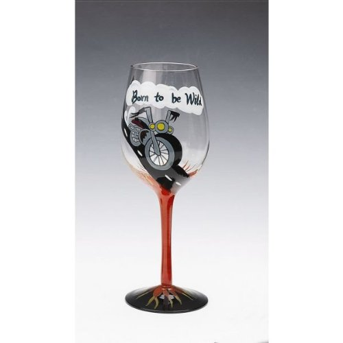 Motorcycle Hog Handpainted Wine Glass W/ Gift Box