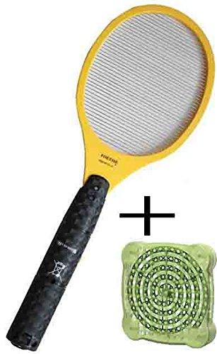 電撃殺虫ラケット [ デング熱 蚊に刺され予防 ] セットで 置くだけ殺虫剤付き!蚊 駆除 スプレー 殺虫ラケット一つあれば十分! アウトドア バーベキュー 屋外活動時の蚊対策! 蚊取り線香 殺虫剤 撒くよりも健康的に蚊の駆除が出来る! [アメリカ製]