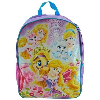 "Disney Pincess 16"" Backpack with 1 Side Mesh Pocket- Princess with Pet - 1"