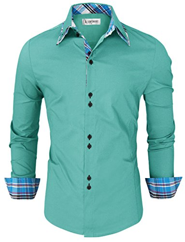 Toms-Ware-Mens-Trendy-Slim-Fit-Inner-Checkered-Button-Down-Shirt