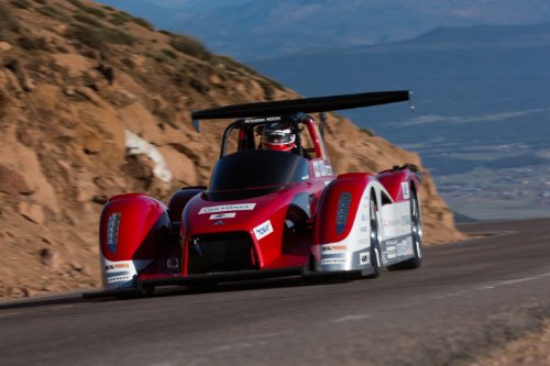 """Mitsubishi Miev Evolution Ii All Electric Pikes Peak (2013) Race Car Art Poster Print On 10 Mil Archival Satin Paper Red Front Speed View 16""""X12"""""""